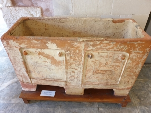 Clay coffin at the Archaeological museum of Chania