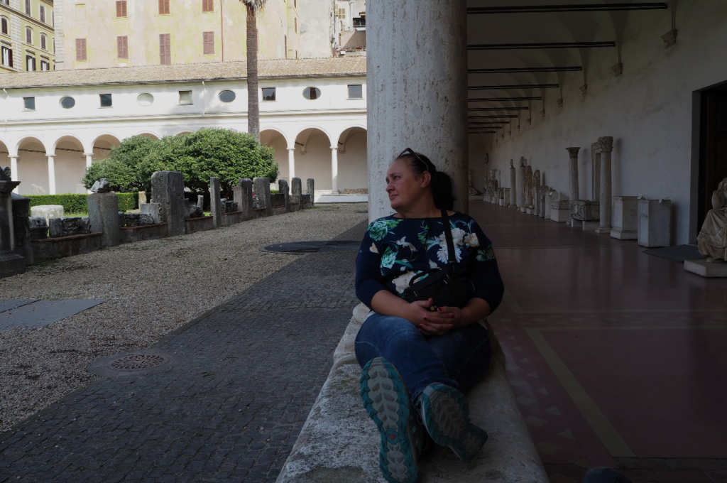 Relaxing at the National Museum of Rome