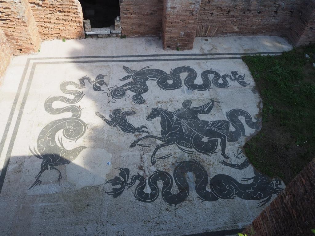 Mosaics in the largest public baths of Ostia Antica