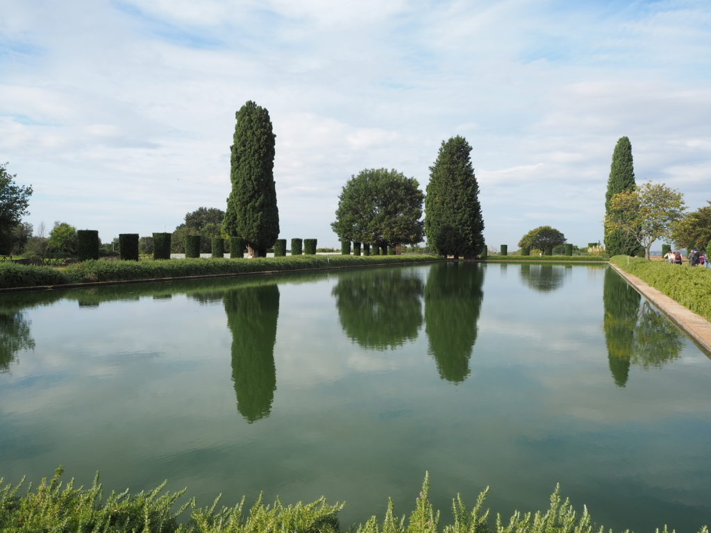 At the entrance of Villa Adriana, a calm water pond meets the visitor
