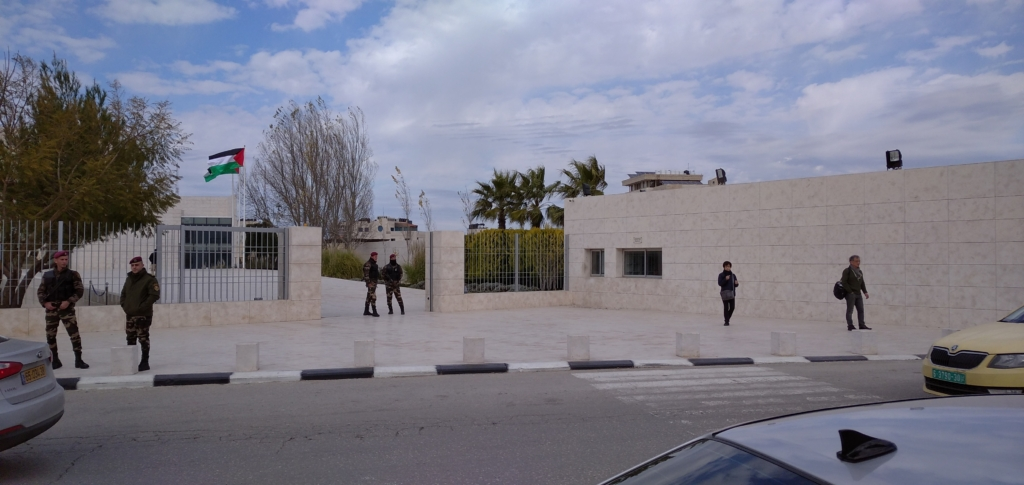 The entrance to the mausoleum of Yasser Arafat in Ramallah, Palestine