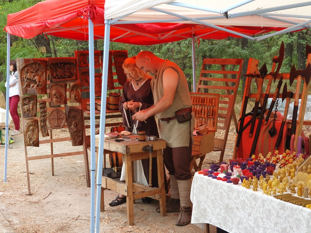 Craftspeaople and their produce at the festival in Plovdiv
