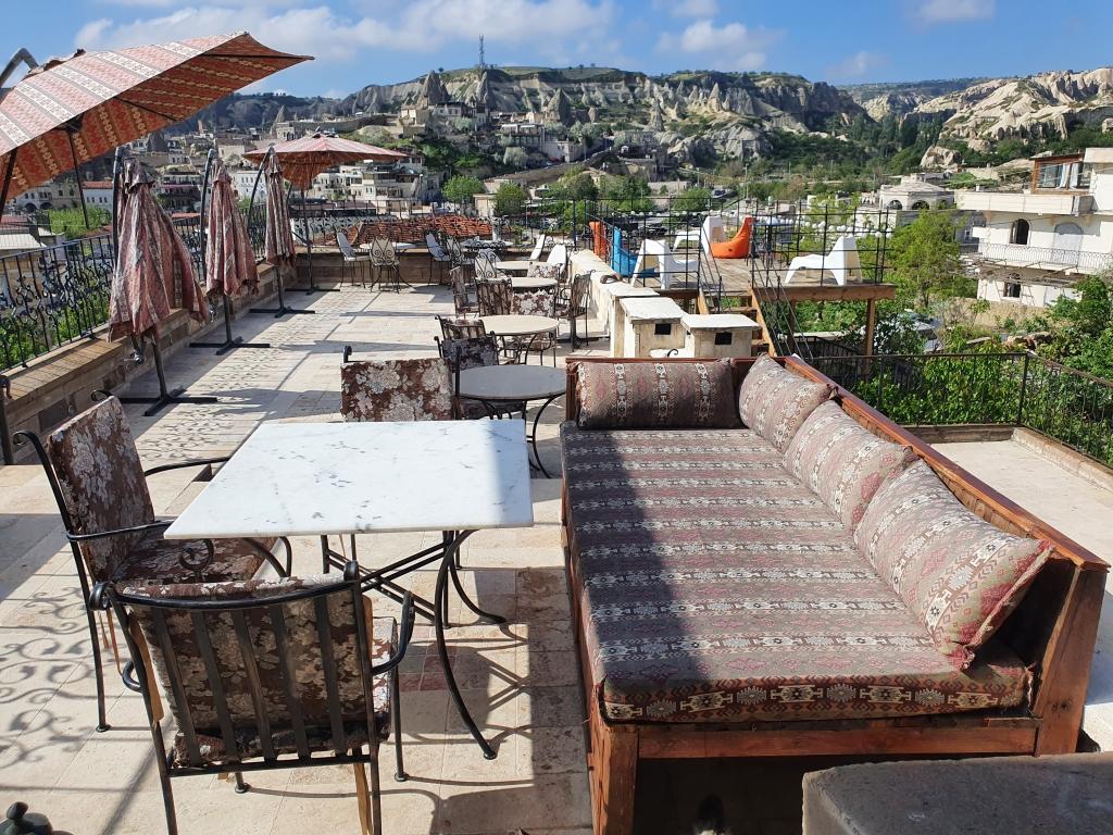 The terrace of a hotel in Cappadocia