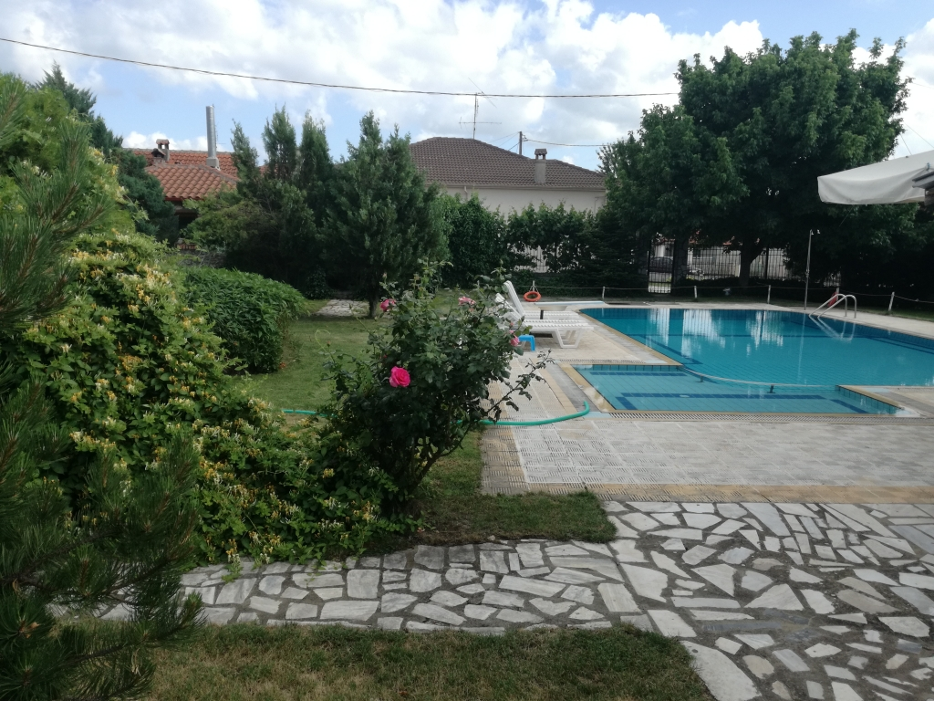 By the pool of Prespa Resort complex